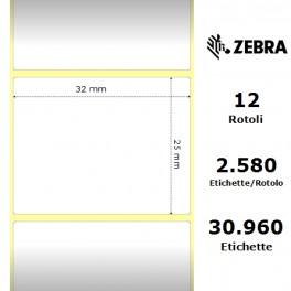 800261-105 - Etichette Zebra F.to 32x25mm Carta Termica Ad. Permanente D.i. 25mm - con Strappo facilitato
