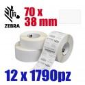880013-038D - Etichette Zebra F.to 70x38mm Carta Vellum Adesivo Permanente D.i. 25mm - Confezione da 12 Rotoli
