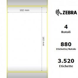 76181 - Etichette Zebra F.to 102x165mm Carta Vellum Adesivo Permanente D.i. 76mm - Confezione da 4 Rotoli