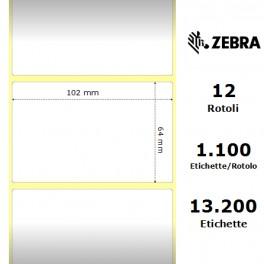 800264-255 - Etichette Zebra F.to 102x64mm Carta Termica Ad. Permanente D.i. 25mm - con Strappo facilitato - Conf. da 12 Rotoli